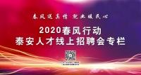 """2020年泰安市""""春风行动""""暨就业援助月招聘会岗位信息"""